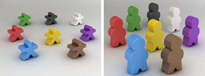 Different meeples available in Tabletopia